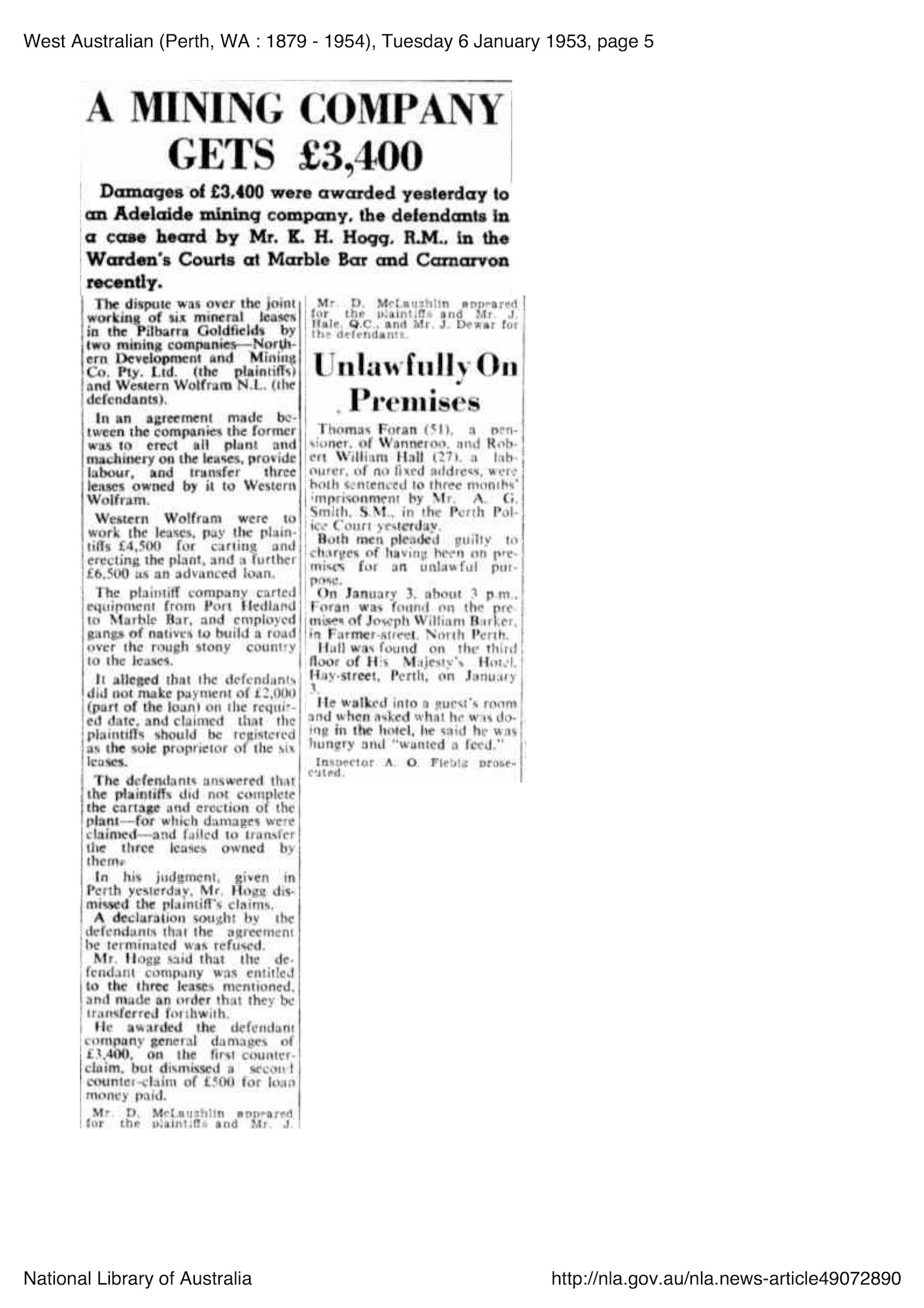 West Australian, 6 January 1953, p. 5, 'A Mining Company Gets £3,400'