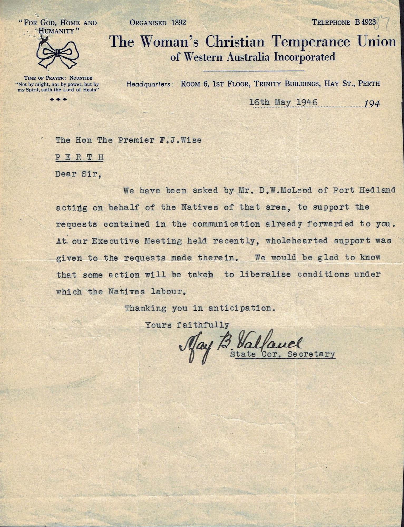 Woman's Christian Temperance Union WA to Premier Wise, 16 May 1946