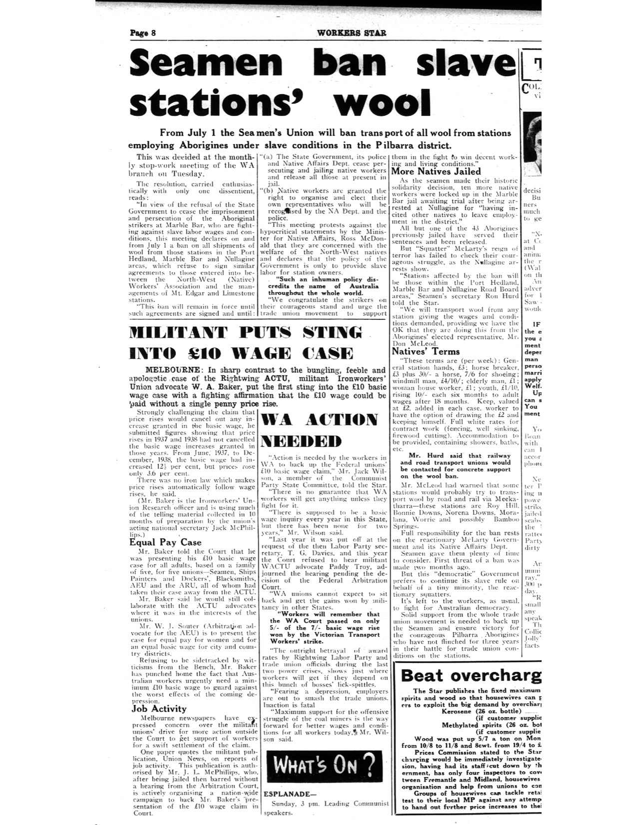 Seamen Ban Slave Stations' Wool newspaper article